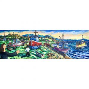 la mise a l'eau des bateaux de peche guillaume artiste peintre gaspesie web